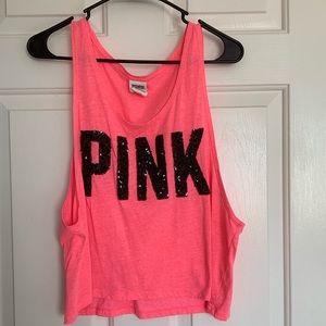 Pink sequins tank